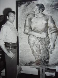 Gary Cooper posa ante el retrato que le hizo Quintanilla para promocionar Por qui+®n doblan las campanas
