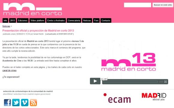 Madrid en corto nuevo catalogo 2013