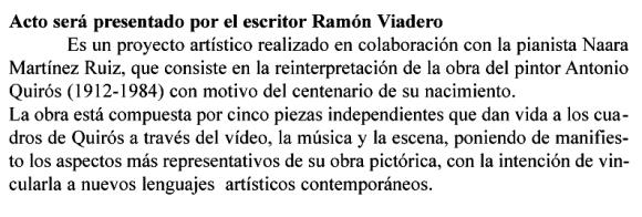 Acto será presentado por el escritor Ramón Viadero copia
