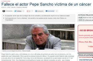 Fallece el actor Pepe Sancho víctima de un cáncer