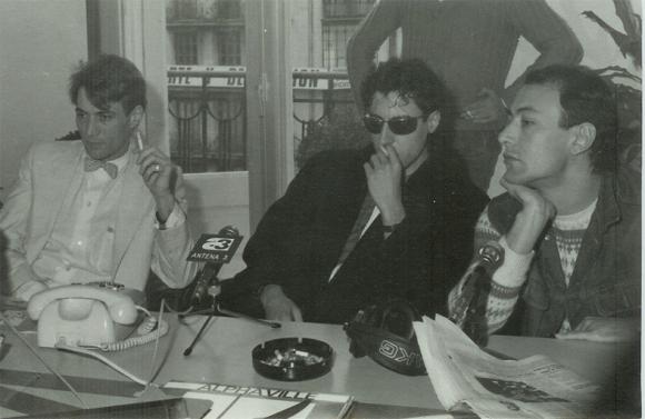 De izquierda a derecha: Ramón G. del Pomar, relaciones de la Sala Rockola, Miguel A. Arenas, Primera Línea y J. A. Maillo, de Radio 3